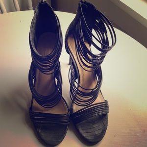 BCBG Maxazria black strappy heel